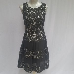 Eliza J Lace Overlay Fit & Flare Dress